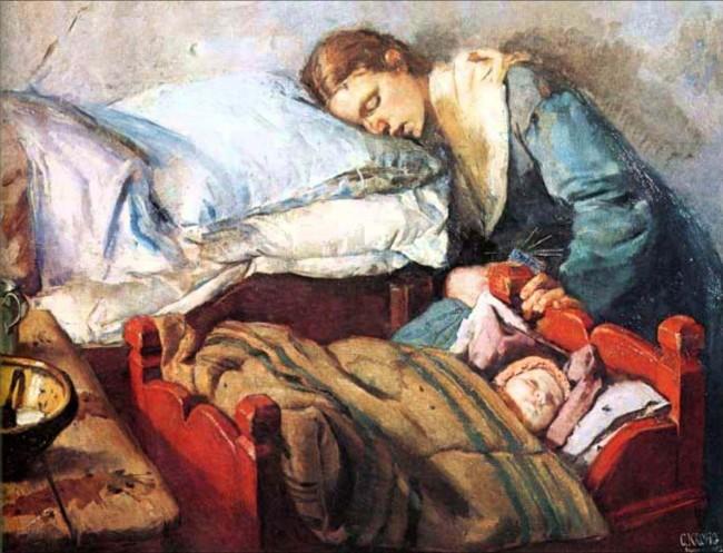 Кристиан Крог – (1852 – 1925) «Спящая мать с ребенком»