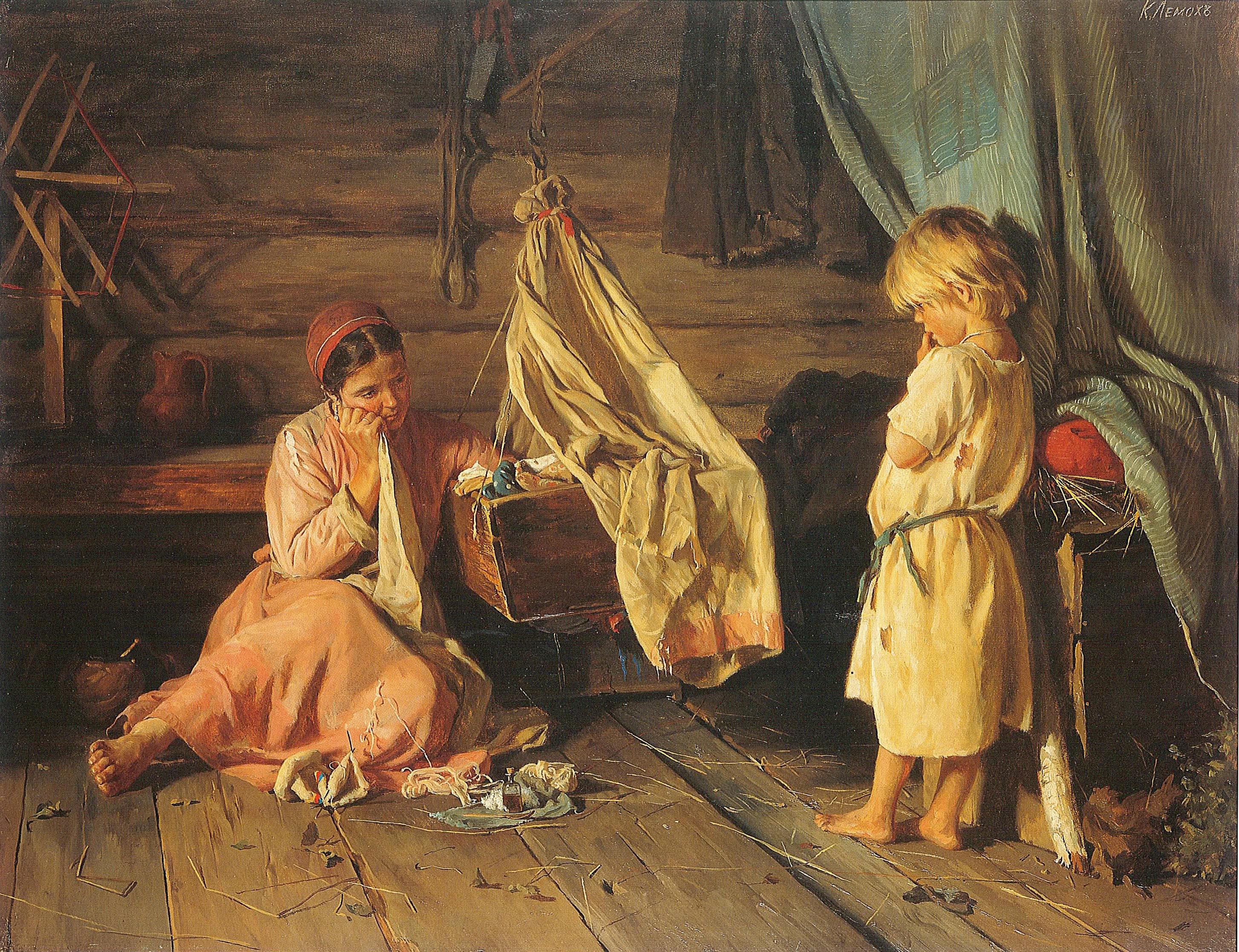 Лемох Карл Викентьевич (1841 – 1910) «У люльки (Больное дитя)»