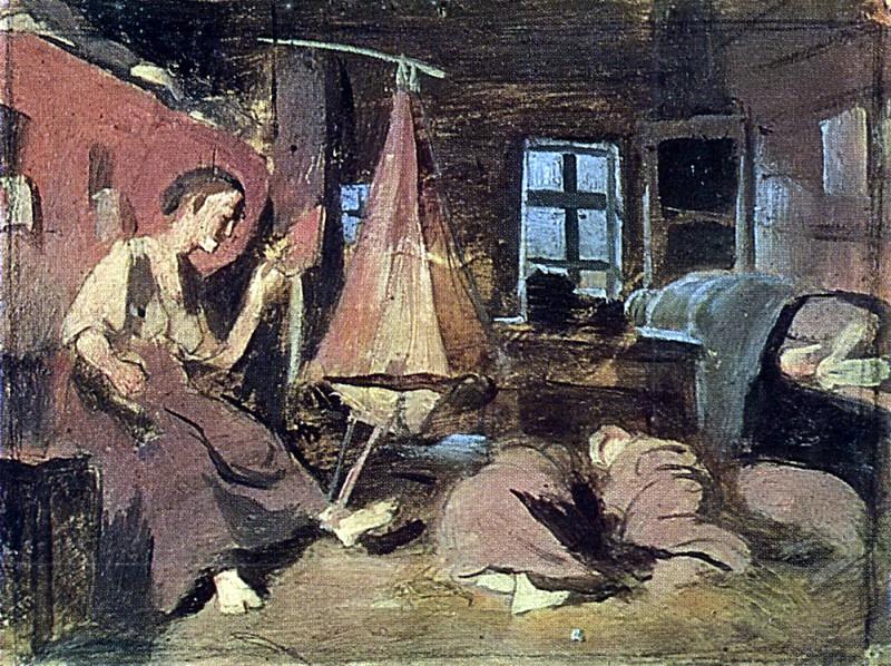 Перов Василий Григорьевич (1833-1882) «Ночью в избе»